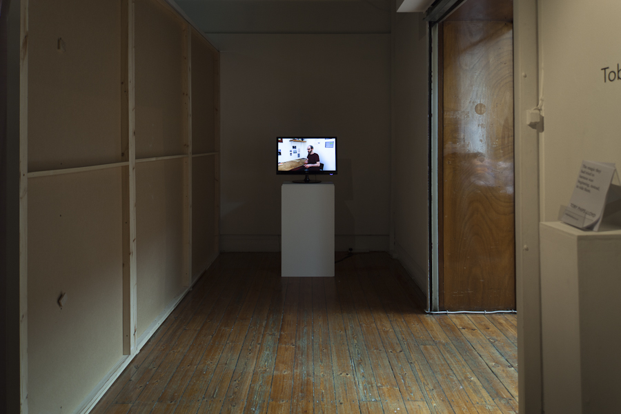 Installation exit and Interview film (photograph by James Sebright )
